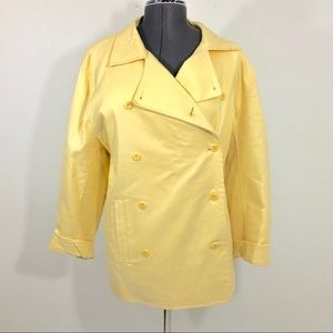 Eileen Fisher Yellow Cargo Double Breasted Jacket